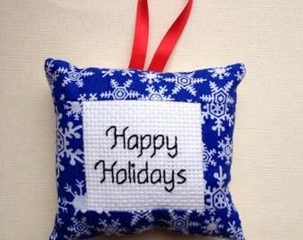 Hand Sewn Christmas Ornament, Fabric Christmas Ornament, Miniature Cross Stitch, Blue and White Snowflake Ornament
