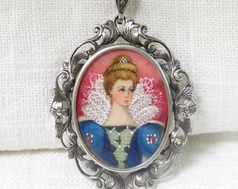 Edwardian 800 Silver Hand Painted Portrait Pendant/ Brooch