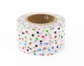 mt Washi Masking Tape - Confetti Drop Dots Green - (15m roll)