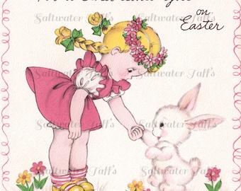 Girl Greeting Easter Bunny Vintage Image Digital Download  pink 1940's clipart little girl sweet rabbit spring flowers garden adorable