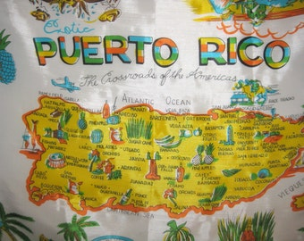 Vintage Puerto Rico Tourist Scarf
