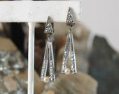Reserved for D - Marcasite Earrings, Gunmetal Silver, Pearl, Geometric Art Deco Design, High Sparkle, Lightweight & Comfortable, Excellent