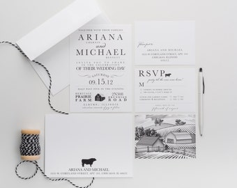 Wedding Invitation, Party Till The Cows Come Home Wedding Collection, Rustic Farm House Themed Invitations