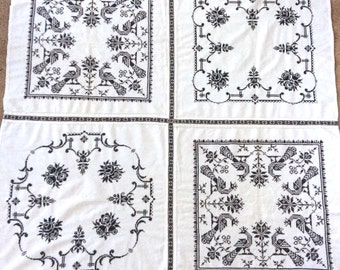 Square Tablecloth Black Cross Stitch Vintage