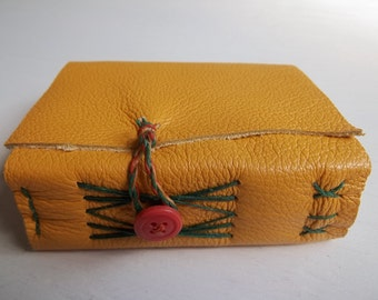 butterscotch leather wrap journal, small travel journal, pocket journal, mustard gold leather journal, nature journal