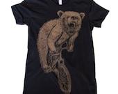 Womens T-Shirt mountain BICYCLE shirt  Bear on a Bike American Apparel Black TShirt