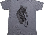 Koala on a Bicycle | Mens American Apparel Tri-Blend Shirt XS, S, M, L, Xl, Xxl