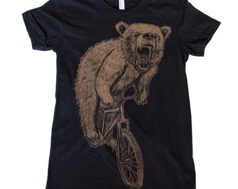 Womens T-Shirt mountain BICYCLE shirt  Bear on a Bike Black TShirt