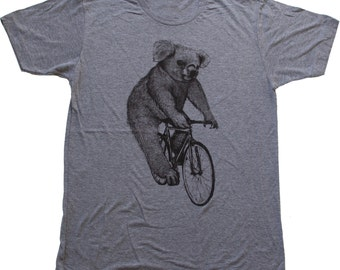 Koala on a Bicycle - Mens T Shirt, Unisex Tee, Tri Blend Tee, Handmade graphic tee, sizes xs-xxl