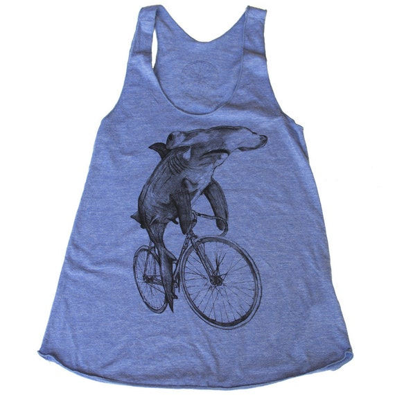 womens HAMMERHEAD shark on a Bike Racerback Tank Top - Ladies American Apparel Athletic Blue - Available in XS, S, M, and L