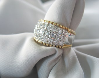 Rhinestone Wide Band Statement Ring Crystal Two-tone Sparkling Cocktail  Sz 7