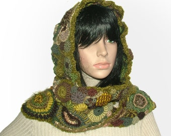 Hood/Scarf Combo, Wearable Art, OOAK Freeform Crochet in Olive Green tones