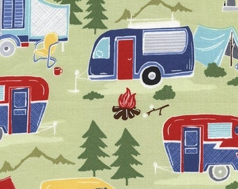 Adorable Camper Trailer Fabric- By the Yard - 100% Cotton CUTE! New! Multi- Colors