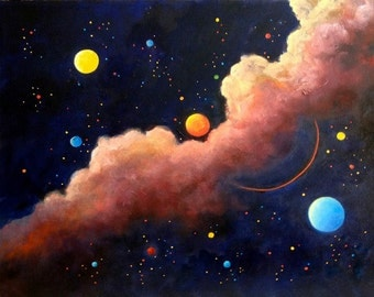 Painting Moon Galaxy, Luna, Stars, Moon Painting, Wall art, Space art,