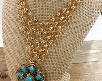 Turquoise Pendant with Gold Chainmaille Necklace