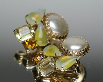 Vintage Gold Tone Metal with Faux Pearl, Rhinestone and glass Cabochon Stones