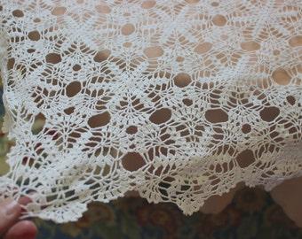 Handmade Crochet tablecloth -Doily Runner, Crochet Tablecloth Square, White Crochet Lace Bedroom Curtain, Unique Crochet Item