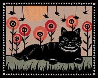Cat's Way of Life - 8 X 10 inch Cut Paper Art Print