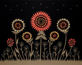 Midnight Garden - 16 x 20 inch Cut Paper Art Print