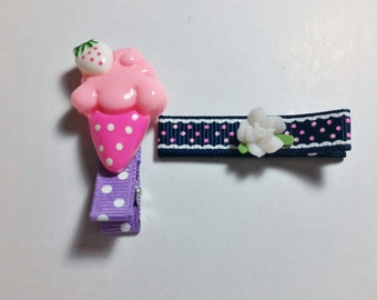 2 Pcs Ice Cream Polka Dot Theme - Hair Clip for Baby and Toddler (Alligator Clip)with Silicone Non-Slip Grip