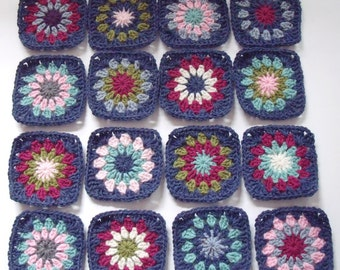 16 Hand Crocheted Granny Squares, Blue Denim Multi, Each 4.25 x 4.25 in. Acrylic