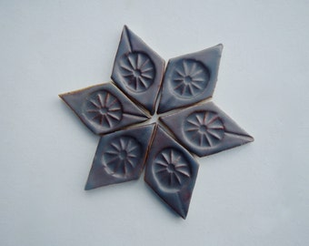 6 Brown Mosaic Diamond Tiles
