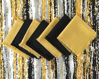 Mid-century Pattern Vintage Fabric Tablecloth Mid Century ABSTRACT Design Napkin Set