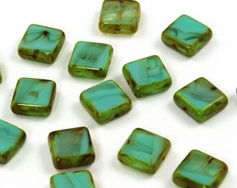 Opaque Turquoise Givre Picasso Czech Glass Square Window Beads 11mm - 15
