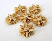 Vintage Flower Cabochons Gold Daisy Metallic Plastic Flatback Japan 12.5 to 13mm pcb0328 (6)