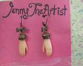 Dangle Barbie Hand, Brass Bow Earrings