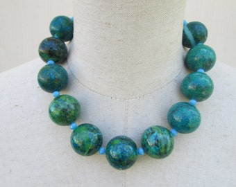 Huge Chunky Blue Green Chrysocolla Beaded Necklace, Statement Beads