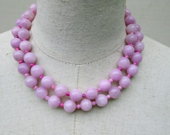 Lavender Beaded Double Strand Necklace