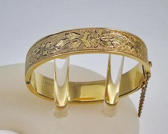 Hayward, Hinged Bangle Bracelet, Gold Filled, Etched Floral Motif, Taille D Epargne, Vintage 1930,