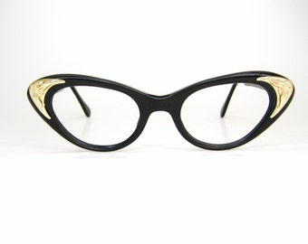 Vintage Black Cat Eye Glasses Eyeglasses Sunglasses Atomic Frame