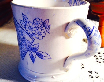 Blue Flowers/Landscape Early Primitive Transferware Mug