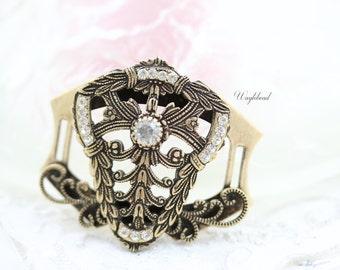 Rhinestone Antique Brass Filigree Bracelet Component Link Swarovski Crystal