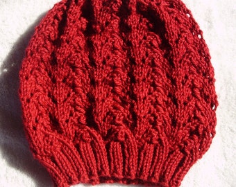 Burgundy Hand Knitted Slouch Hat