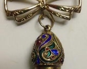 SDALEVintage Russian 800 Silver Gilt Enamel Egg Pendant and Bow Brooch Pin