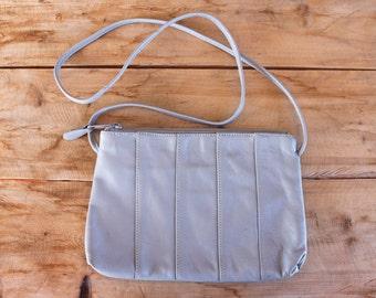 1980s purse | dove grey leather crossbody handbag