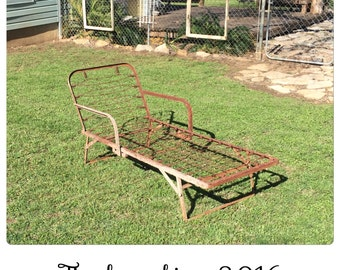 Chaise Lounge - Outdoor Chaise Lounge - Metal Chaise Lounge - Outdoor Furniture - Vintage Chaise Lounge - Repurpose - Garden Decor - Planter