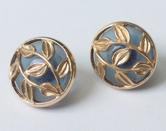 Leaf Overlay Blue Glass Earrings Posts Vintage Round