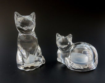 Vintage Crystal Cat Salt & Pepper Shakers  - Fine Crystal Kitty Cat Shakers - Gorham, Made in Germany