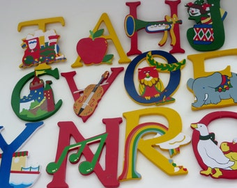 Vintage Painted Wooden Letters - Nursery Letters - Small Wooden Letters