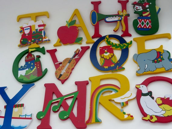 painted wooden letters items similar to vintage painted wooden letters nursery 23887 | il 570xN.975904152 tfps