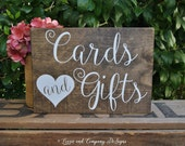 CaRdS & GiFtS SiGn - Guestbook sign - Calligraphy Lettering - Sweetheart Table Sign - RuSTic WeDDing SiGn - Stained Wedding Sign - 10 x 7