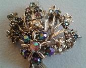 Brooch or Pendant - Silver Colored Metal Floral Brooch with Blue-Purple Rhinestones