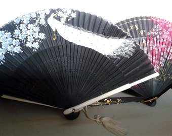 Vintage Fans, 2 Black with White Peacock and Pink Floral - Oriental Style Fabric Painted Fans