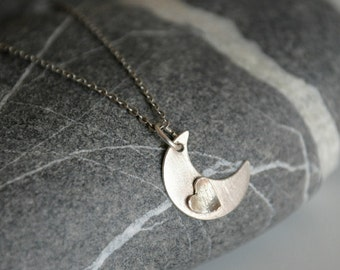 Moon and Heart Sterling Silver Pendant Necklace