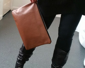 SALE, large tan brown leather clutch, upcycled leather clutch, large leather pouch, leather man bag, oversized pouch, ipad, kindle, tablet