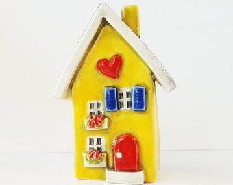 Little Clay House Ceramic House Miniature House Whimsical house Yellow House Fairy House Clay Cottage